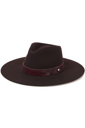 RAG & BONE قبعة فيدورا من الجوخ الصوفي مزيّنة بالجلد