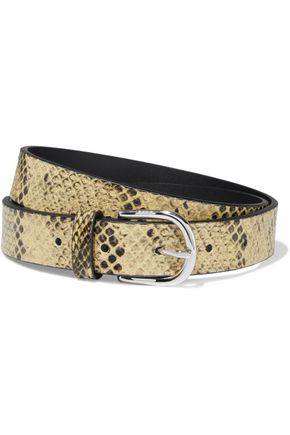 IRO Majun glossed snake-effect leather belt