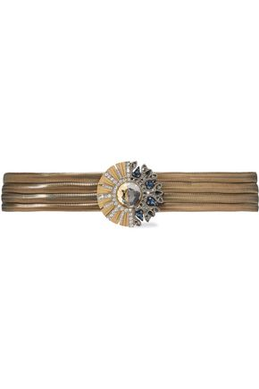 LANVIN Crystal-embellished gold and silver-tone belt