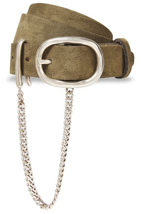 RAG & BONE Wingman chain-embellished suede belt