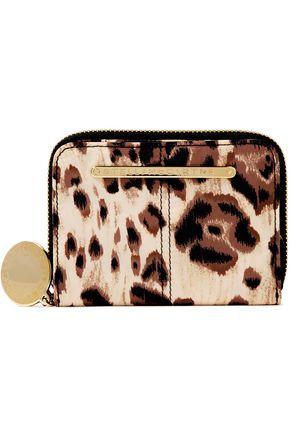STELLA McCARTNEY Logo-appliquéd leopard-print shell wallet