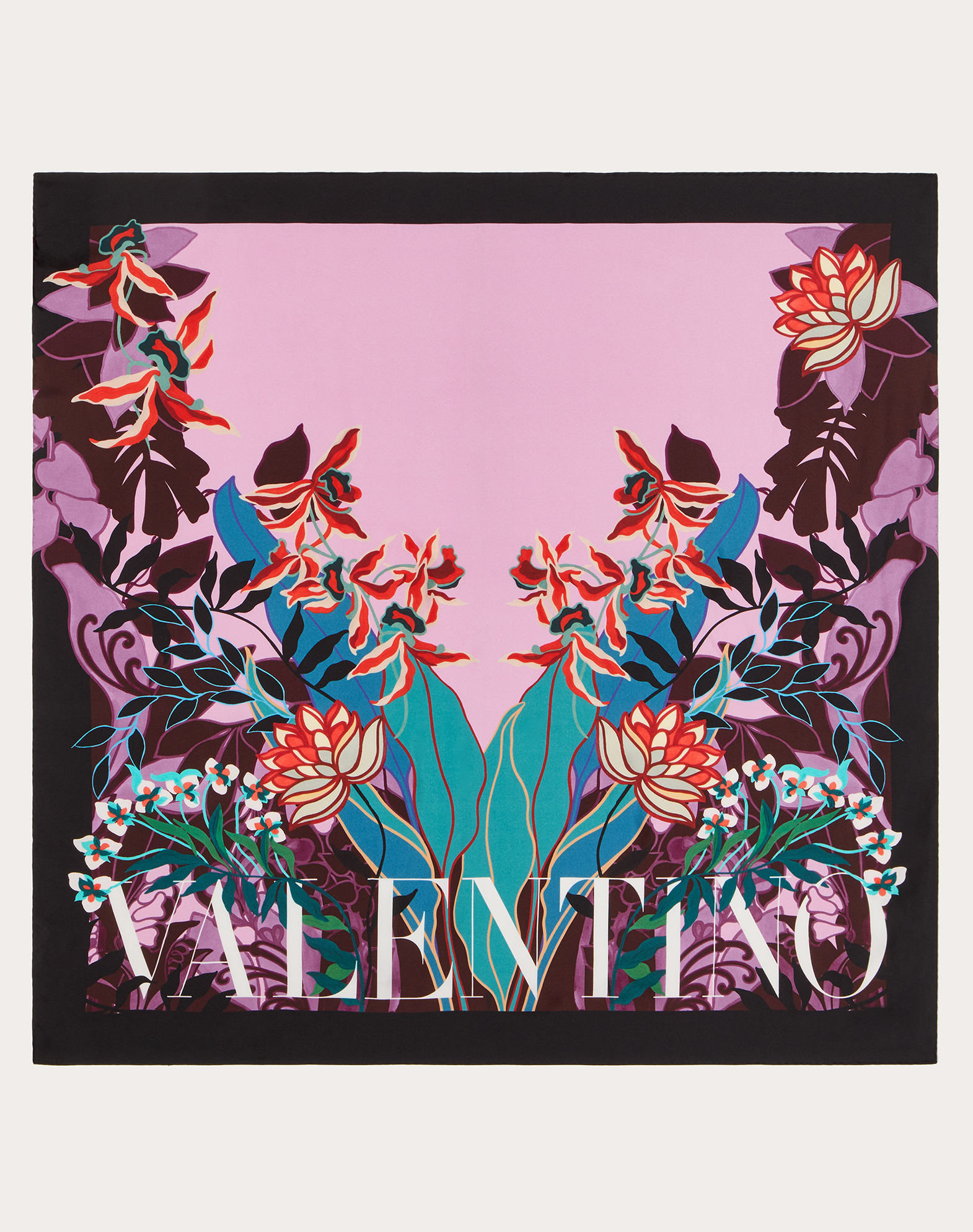 Silk twill foulard with Mirrored Orchid print 90x90 cm