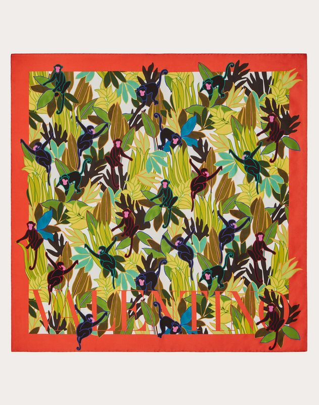 Silk twill foulard with Monkey Forest print 90x90 cm / 35.4x35.4 in.