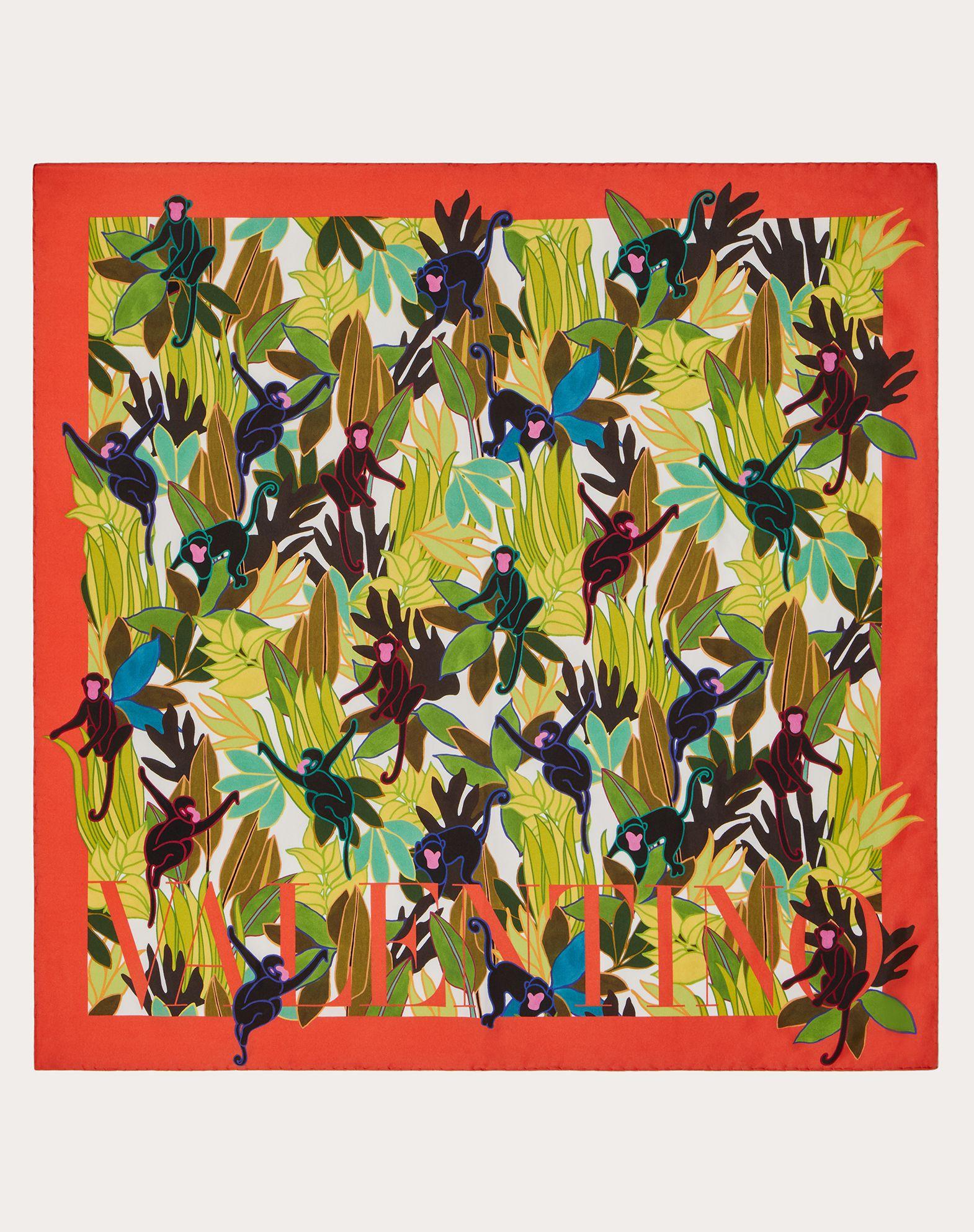 Silk twill foulard with Monkey Forest print 90x90 cm