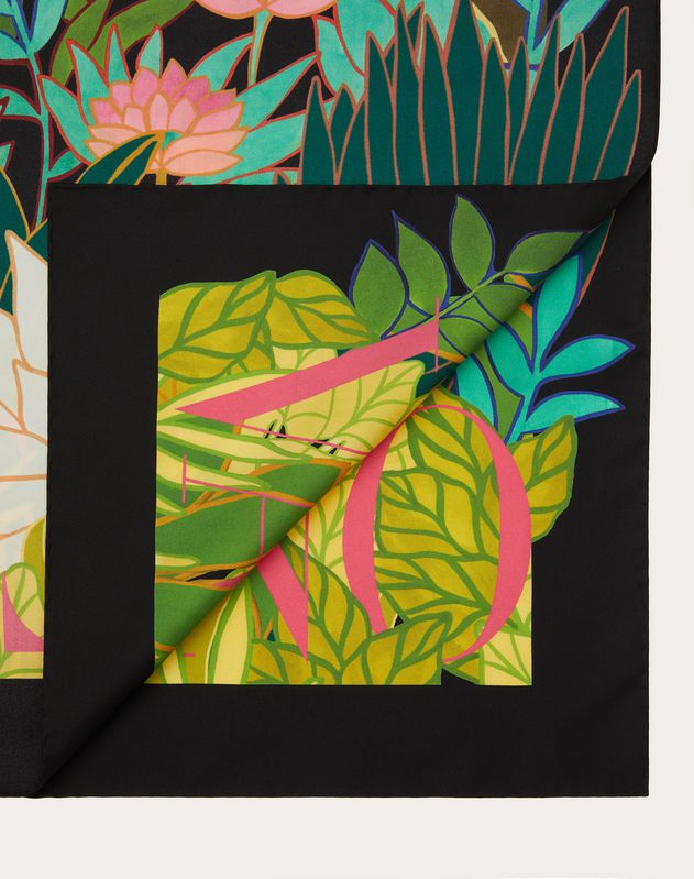 Silk twill foulard with Panther in the Jungle print 90x90 cm