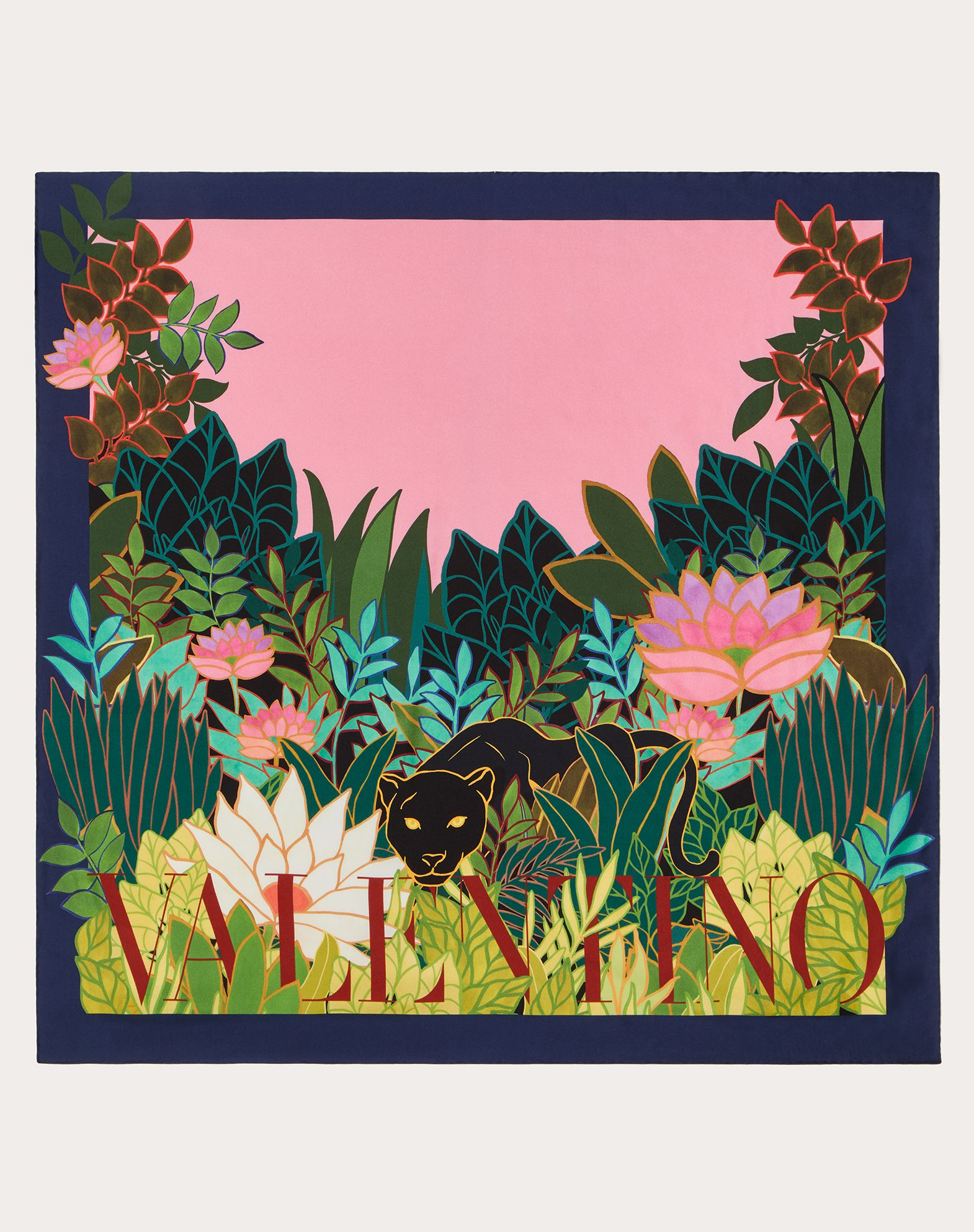 Silk twill foulard with Panther in the Jungle print 90x90 cm / 35.4x35.4 in.