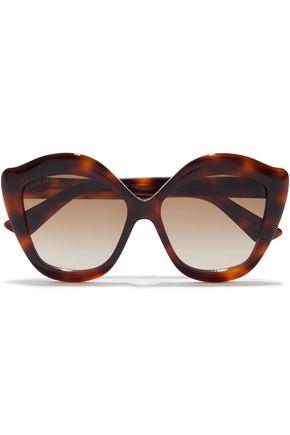 GUCCI نظارات شمسية كبيرة بإطار على شكل فراشات من الأسيتات بنقوش السلحفاة