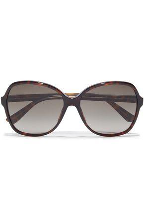 GUCCI نظارات شمسية كبيرة بإطار مربع الشكل من الأسيتات بنقوش السلحفاة