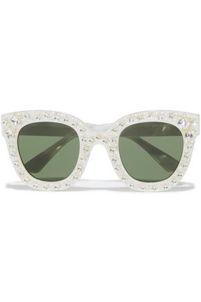 GUCCI نظارات شمسية بإطار على شكل D من الأسيتات الرخامي مزينة بالكريستال