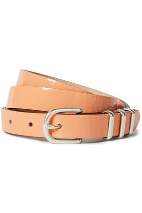 RAG & BONE Jet crinkled patent-leather belt