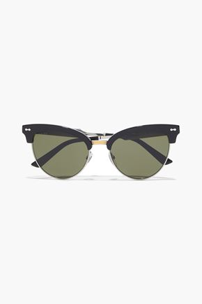 GUCCI Cat-eye acetate, silver and gold-tone sunglasses