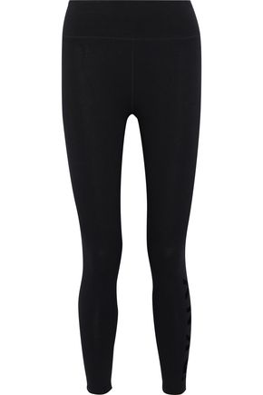 DKNY Cropped flocked stretch-cotton leggings