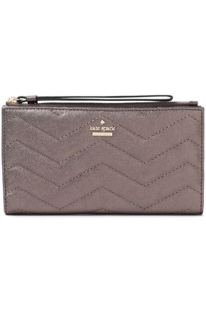 KATE SPADE New York Reese Park Eliza metallic quilted textured-leather wallet
