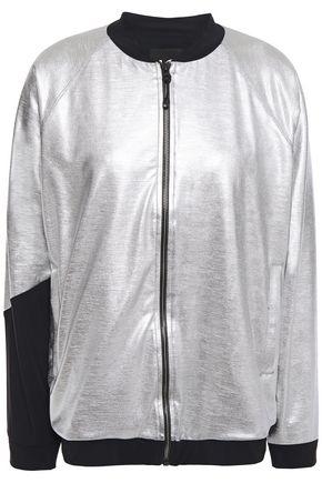 KORAL Stretch jersey-paneled lamé track jacket