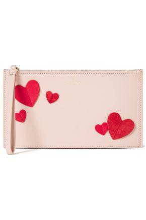 KATE SPADE New York Adra appliquéd textured-leather pouch