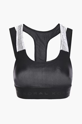 KORAL Forte cutout mesh-trimmed stretch sports bra