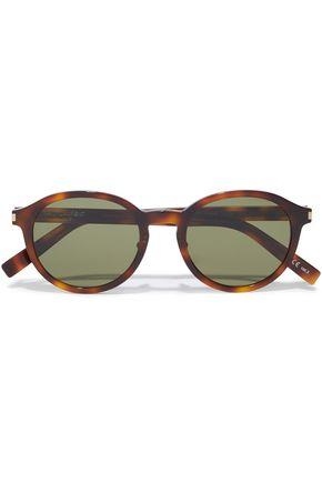 SAINT LAURENT نظارات شمسية بإطار دائري من الأسيتات بنقوش السلحفاة