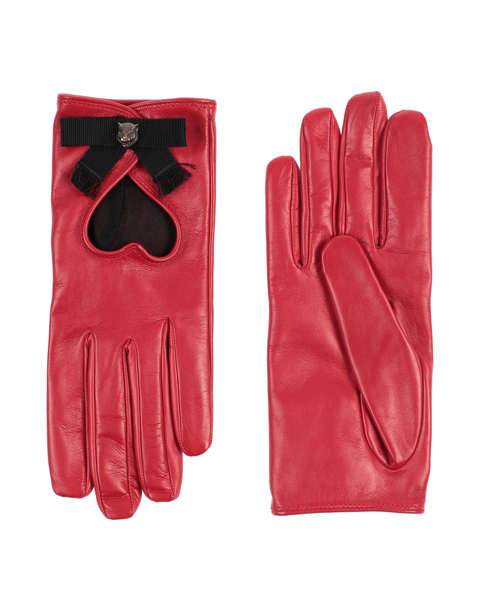 GUCCI Gloves. nappa leather, metal applications, solid color, fully lined, contains non-textile parts of animal origin. 100% Lambskin, Viscose, Cotton