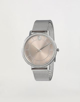 Scuderia Ferrari Online Store - Women's Ultraleggero watch with crystals and a steel link strap - Quartz Watches