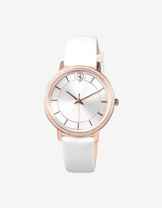 Scuderia Ferrari Online Store - Women's white Ultraleggero watch with crystals - Quartz Watches