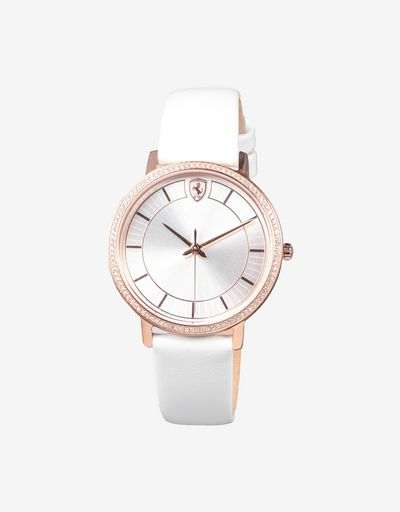 Women's white Ultraleggero watch with crystals