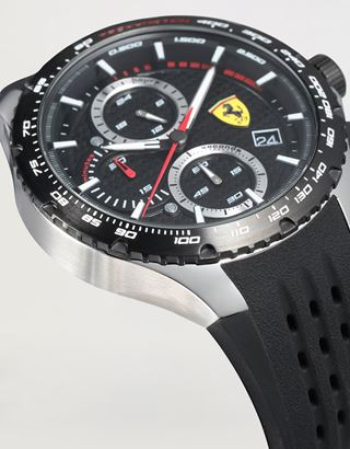 Scuderia Ferrari Online Store - Pista chronograph watch with black perforated strap - Quartz Watches