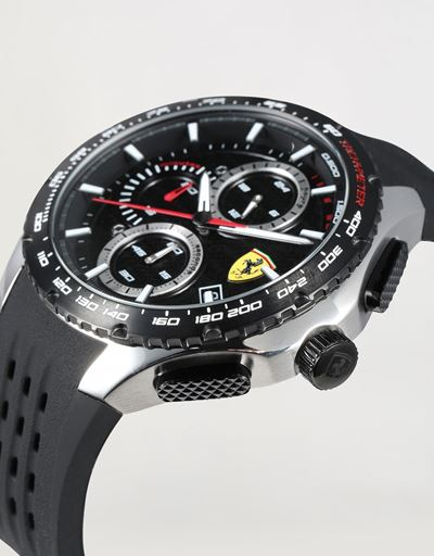 Pista chronograph watch with black perforated strap