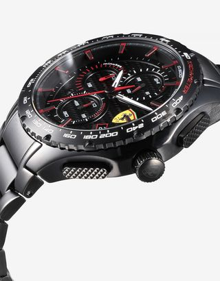 Scuderia Ferrari Online Store - Pista chronograph watch with black steel case - Chrono Watches
