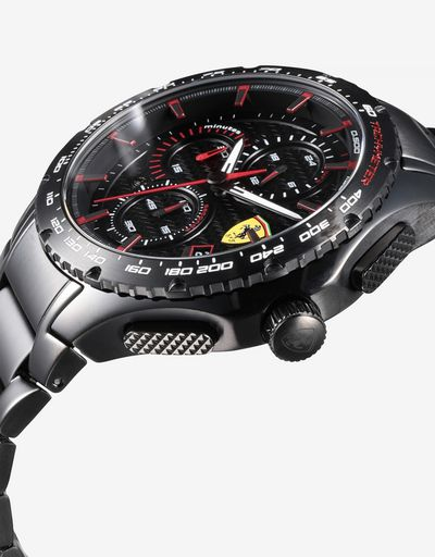 Pista chronograph watch with black steel case