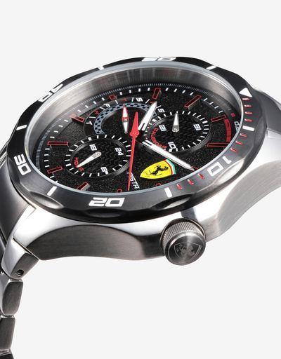 Multifunctional steel Pista watch with two colour strap