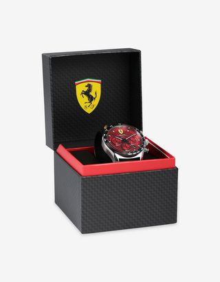 Scuderia Ferrari Online Store - Steel Pilota Evo chronograph watch with red dial - Chrono Watches