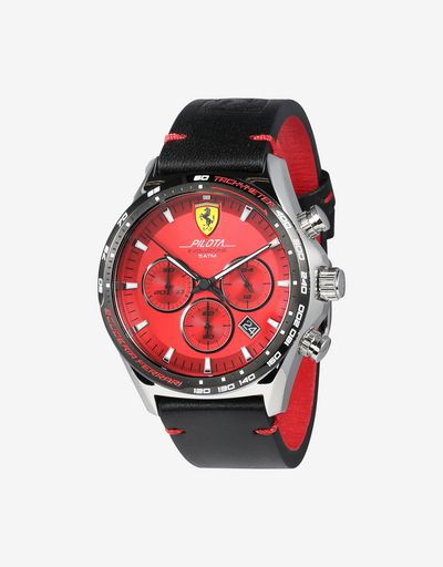 Steel Pilota Evo chronograph watch with red dial