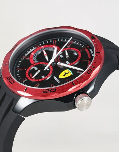 Multifunctional black Pista watch with red bezel