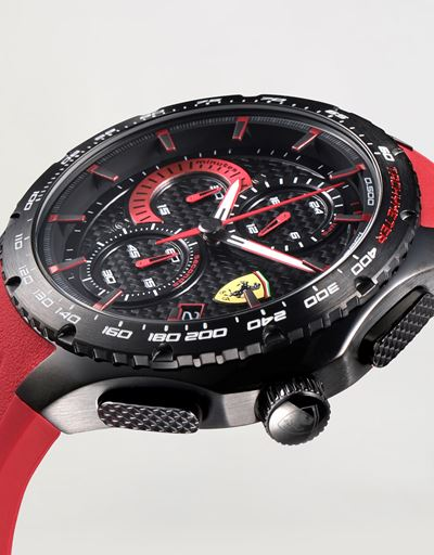 Pista chronograph watch with red perforated strap