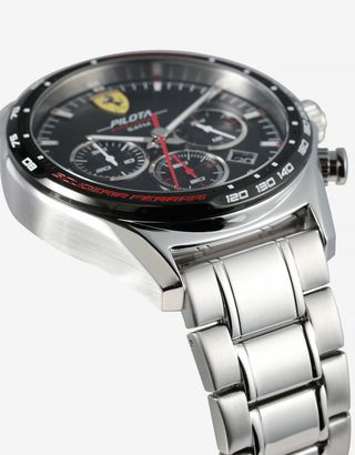 Scuderia Ferrari Online Store - Pilota Evo chronograph watch with steel strap and crocodile print leather strap - Chrono Watches