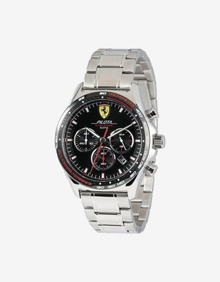 Scuderia Ferrari Online Store - Pilota Evo chronograph watch with steel bracelet and croc-print leather strap - Chrono Watches