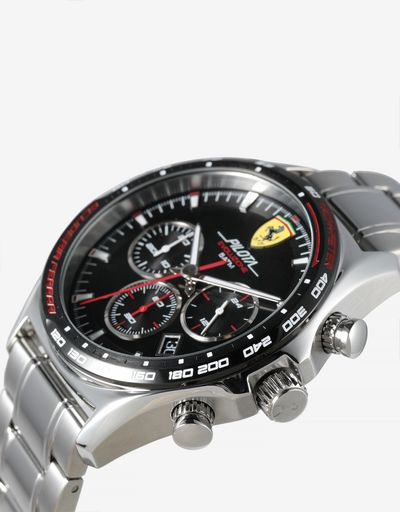 Pilota Evo chronograph watch with steel strap and crocodile print leather strap