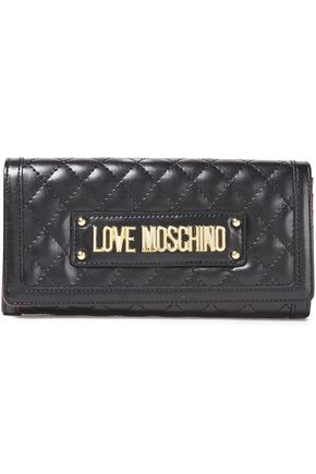 LOVE MOSCHINO Logo-embellished quilted faux leather wallet