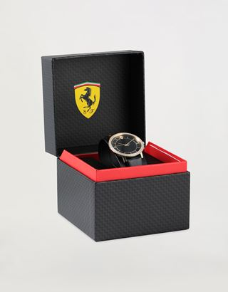 Scuderia Ferrari Online Store - Women's gold tone Ultraleggero watch with black case and crystals - Quartz Watches