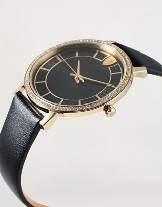 Scuderia Ferrari Online Store - Women's gold Ultraleggero watch with black dial and crystals - Quartz Watches