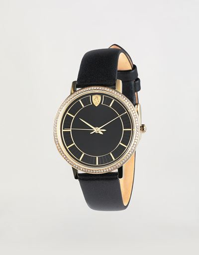 Women's gold tone Ultraleggero watch with black case and crystals
