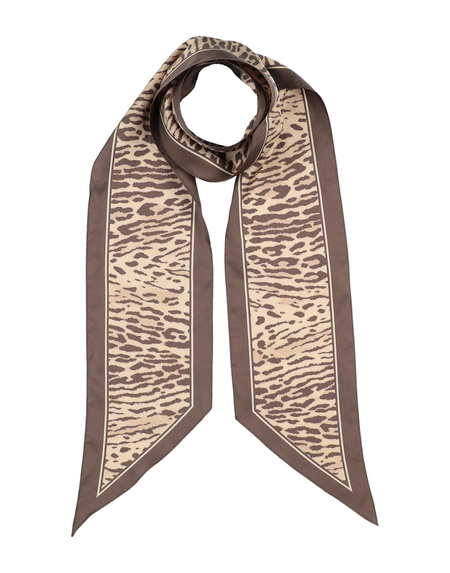 ZIMMERMANN Scarves. satin, no appliqués, leopard-print. 100% Silk