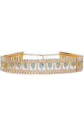 """ROSANTICA حزام """"ديفينيتا"""" باللون الذهبي مرصّع بالكريستال"""