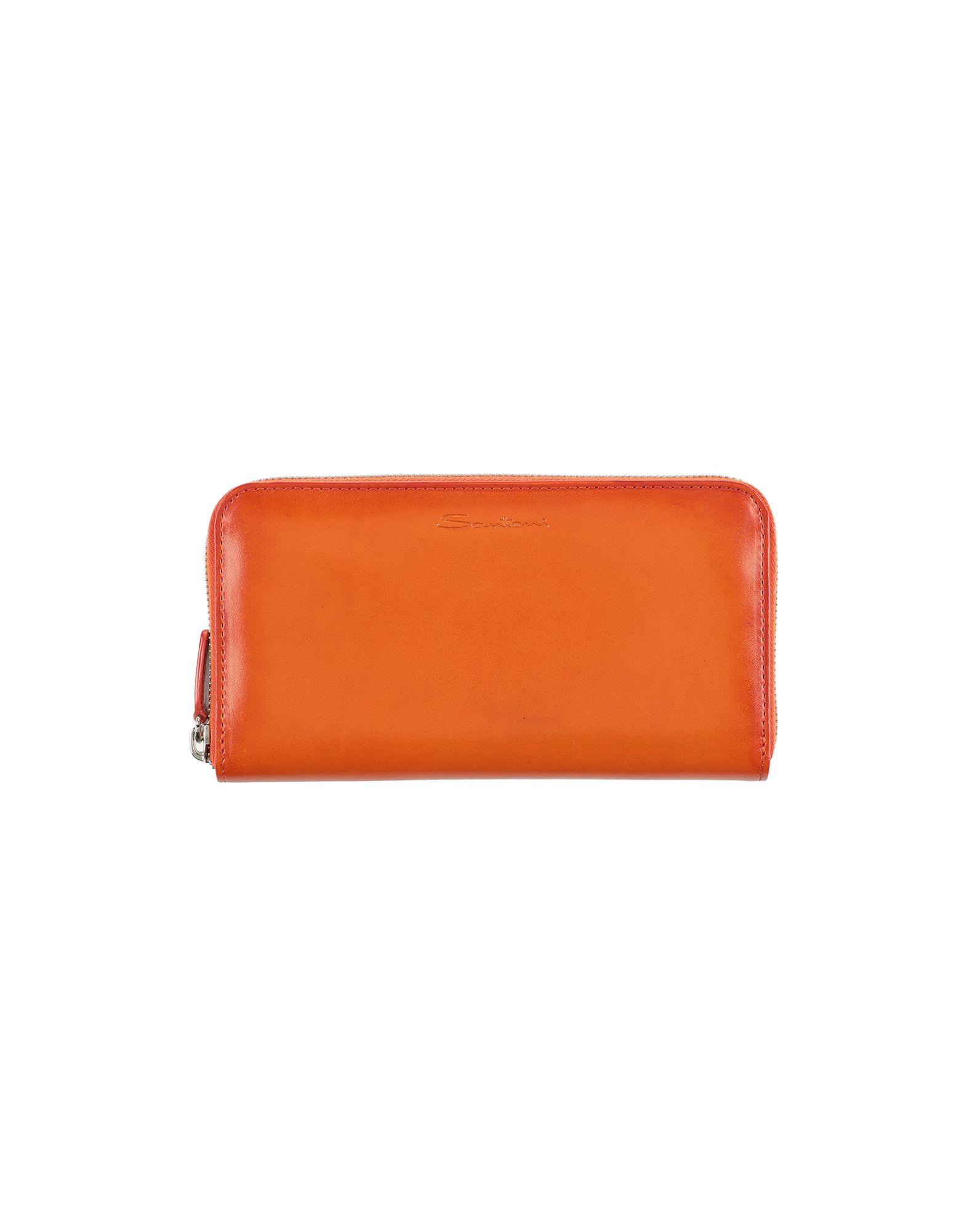 SANTONI Wallets. logo, solid color, zipper closure, internal card slots, contains non-textile parts of animal origin. Soft Leather