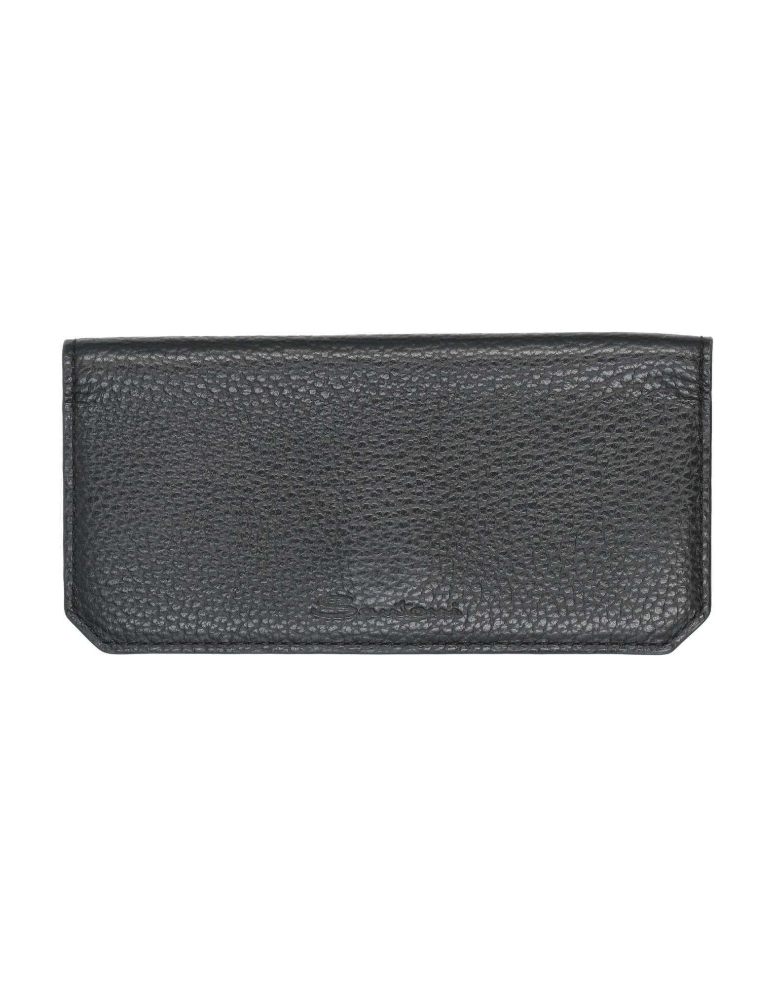 SANTONI Checkbook holders. leather, textured leather, logo, solid color, magnetic fastening, leather lining, contains non-textile parts of animal origin. Soft Leather