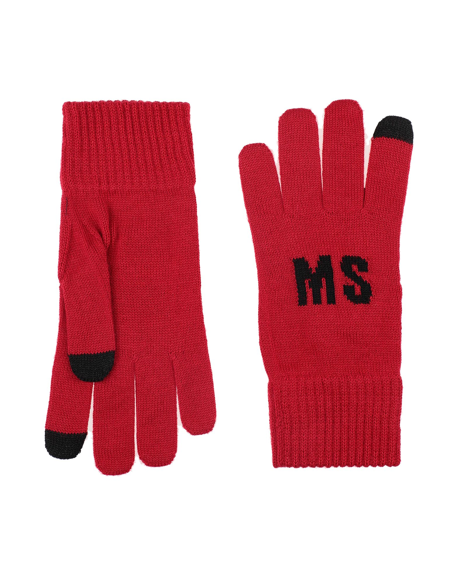 MSGM Gloves. knitted, logo, solid color. 50% Wool, 50% Acrylic