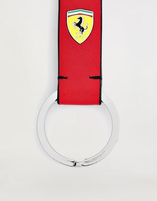 Scuderia Ferrari Online Store - Evo keyring in Saffiano leather with enamelled Shield - Keyholders
