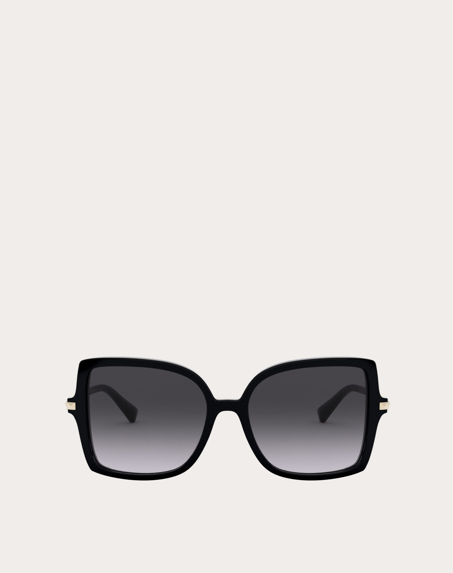 Valentino Occhiali Squared Acetate Frame With Studs In Black/gradient Black
