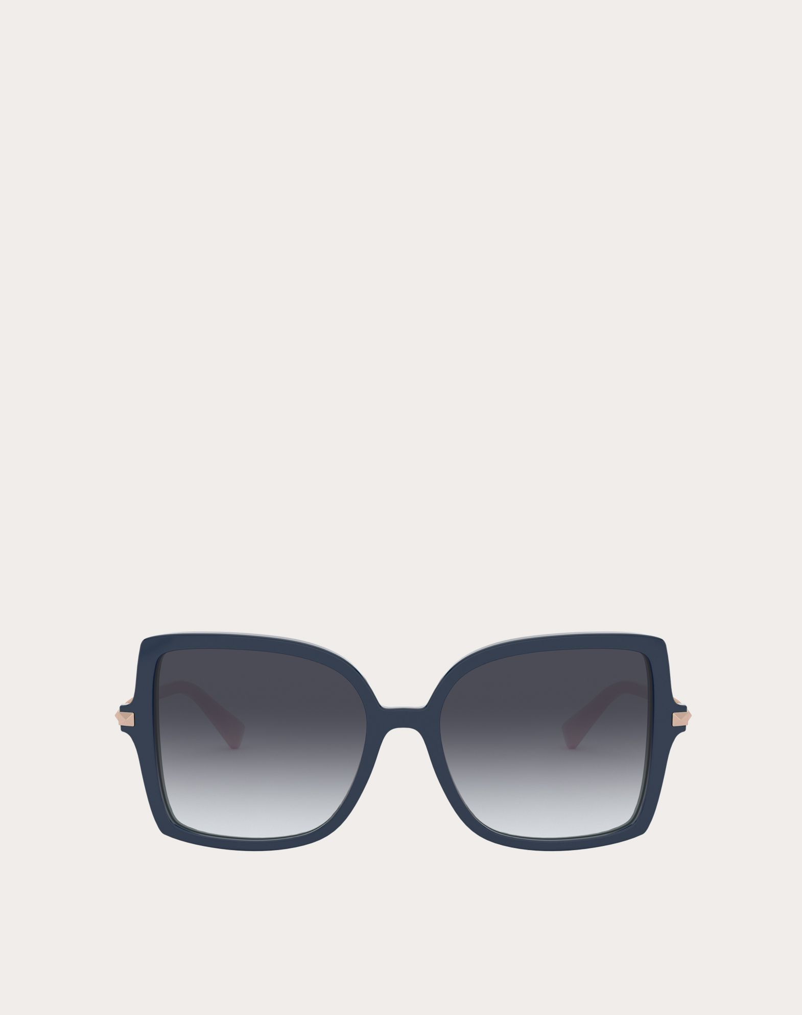 Valentino Occhiali Squared Acetate Frame With Studs In Blue/gradient Gray