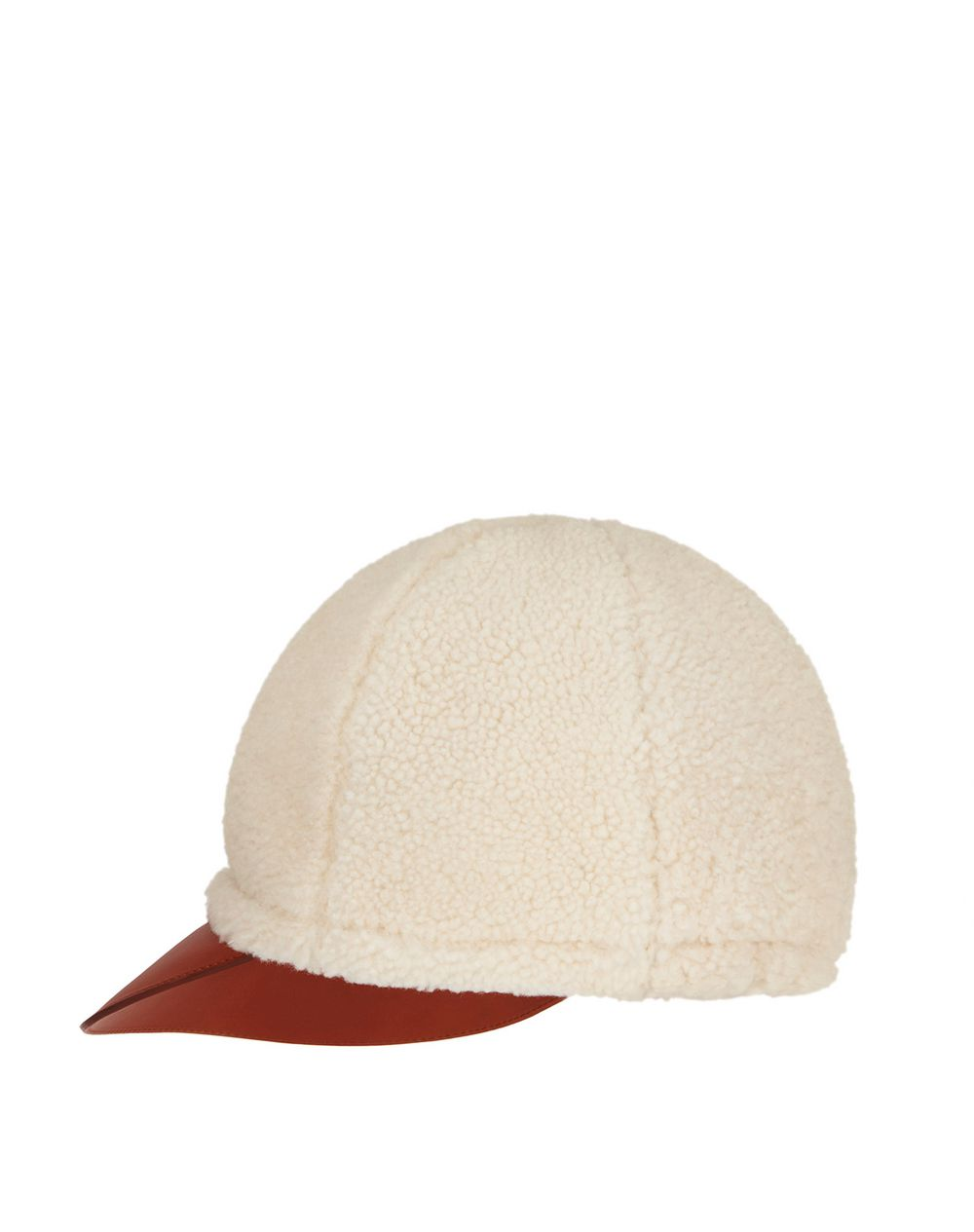 SHEARLING AND LEATHER CAP - Lanvin